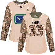 Wholesale Cheap Adidas Canucks #33 Henrik Sedin Camo Authentic 2017 Veterans Day Women's Stitched NHL Jersey