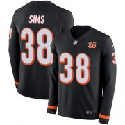 Wholesale Cheap Nike Bengals #38 LeShaun Sims Black Team Color Men's Stitched NFL Limited Therma Long Sleeve Jersey