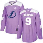 Wholesale Cheap Adidas Lightning #9 Tyler Johnson Purple Authentic Fights Cancer Stitched NHL Jersey