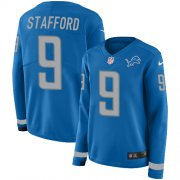 Wholesale Cheap Nike Lions #9 Matthew Stafford Light Blue Team Color Women's Stitched NFL Limited Therma Long Sleeve Jersey