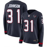 Wholesale Cheap Nike Texans #31 David Johnson Navy Blue Team Color Women's Stitched NFL Limited Therma Long Sleeve Jersey