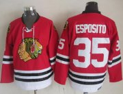 Wholesale Cheap Blackhawks #35 Tony Esposito Red CCM Throwback Stitched NHL Jersey