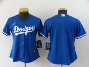 Wholesale Cheap Women's Los Angeles Dodgers Blank Blue Stitched MLB Cool Base Nike Jersey