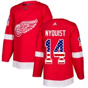 Wholesale Cheap Adidas Red Wings #14 Gustav Nyquist Red Home Authentic USA Flag Stitched Youth NHL Jersey