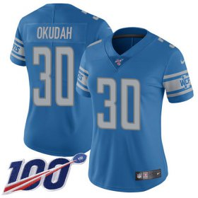 Wholesale Cheap Nike Lions #30 Jeff Okudah Blue Team Color Women\'s Stitched NFL 100th Season Vapor Untouchable Limited Jersey