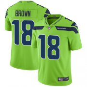 Wholesale Cheap Nike Seahawks #18 Jaron Brown Green Men's Stitched NFL Limited Rush Jersey