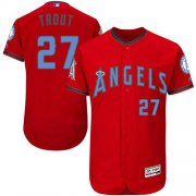 Wholesale Cheap Angels of Anaheim #27 Mike Trout Red Flexbase Authentic Collection Father's Day Stitched MLB Jersey