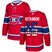 Wholesale Cheap Adidas Canadiens #15 Jesperi Kotkaniemi Red Home Authentic USA Flag Stitched NHL Jersey