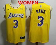 Wholesale Cheap Women's Los Angeles Lakers #3 Anthony Davis 2019 Yellow Nike Swingman Wish Stitched NBA Jersey
