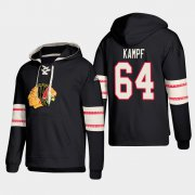 Wholesale Cheap Chicago Blackhawks #64 David Kampf Black adidas Lace-Up Pullover Hoodie