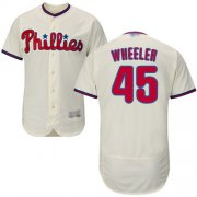 Wholesale Cheap Phillies #45 Zack Wheeler Cream Flexbase Authentic Collection Stitched MLB Jersey