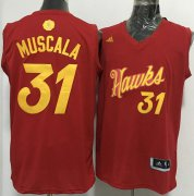 Wholesale Cheap Men's Atlanta Hawks #31 Mike Muscala adidas Red 2016 Christmas Day Stitched NBA Swingman Jersey