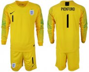 Wholesale Cheap England #1 Pickford Yellow Long Sleeves Goalkeeper Soccer Country Jersey