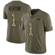 Wholesale Cheap Nike Panthers #1 Cam Newton Olive/Camo Men's Stitched NFL Limited 2017 Salute To Service Jersey