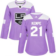 Wholesale Cheap Adidas Kings #21 Mario Kempe Purple Authentic Fights Cancer Women's Stitched NHL Jersey