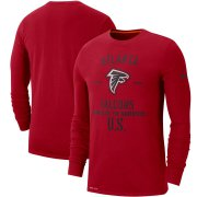 Wholesale Cheap Men's Atlanta Falcons Nike Red 2019 Salute to Service Sideline Performance Long Sleeve Shirt