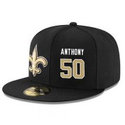 Wholesale Cheap New Orleans Saints #50 Stephone Anthony Snapback Cap NFL Player Black with Gold Number Stitched Hat