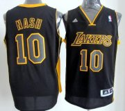 Wholesale Cheap Los Angeles Lakers #10 Steve Nash Revolution 30 Swingman All Black With Yellow Jersey
