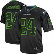 Wholesale Cheap Nike Seahawks #24 Marshawn Lynch Lights Out Black Men's Stitched NFL Elite Jersey