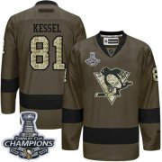 Wholesale Cheap Penguins #81 Phil Kessel Green Salute to Service 2017 Stanley Cup Finals Champions Stitched NHL Jersey