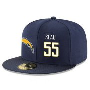 Wholesale Cheap San Diego Chargers #55 Junior Seau Snapback Cap NFL Player Navy Blue with White Number Stitched Hat