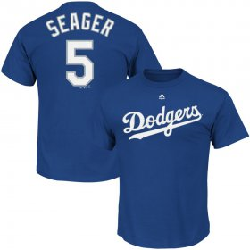 Wholesale Cheap Los Angeles Dodgers #5 Corey Seager Majestic Official Name and Number T-Shirt Royal