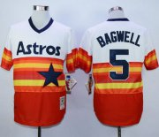 Wholesale Cheap Mitchell And Ness 1980 Astros #5 Jeff Bagwell White/Orange Throwback Stitched MLB Jersey