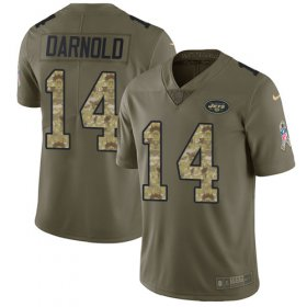 Wholesale Cheap Nike Jets #14 Sam Darnold Olive/Camo Youth Stitched NFL Limited 2017 Salute to Service Jersey