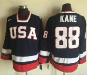 Wholesale Cheap Team USA #88 Patrick Kane Navy Blue 2010 Olympic 1960 Throwback Stitched NHL Jersey