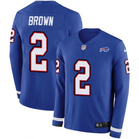 Wholesale Cheap Nike Bills #2 John Brown Royal Blue Team Color Men\'s Stitched NFL Limited Therma Long Sleeve Jersey