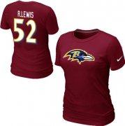Wholesale Cheap Women's Nike Baltimore Ravens #52 R.Lewis Name & Number T-Shirt Red