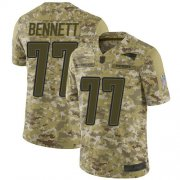 Wholesale Cheap Nike Patriots #77 Michael Bennett Camo Men's Stitched NFL Limited 2018 Salute To Service Jersey