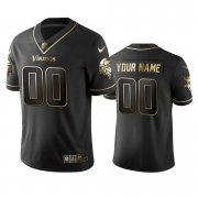 Wholesale Cheap Vikings Custom Men's Stitched NFL Vapor Untouchable Limited Black Golden Jersey