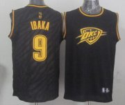 Wholesale Cheap Oklahoma City Thunder #9 Serge Ibaka Revolution 30 Swingman 2014 Black With Gold Jersey