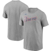Wholesale Cheap Atlanta Braves Nike Cooperstown Collection Wordmark T-Shirt Heathered Gray