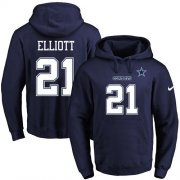 Wholesale Cheap Nike Cowboys #21 Ezekiel Elliott Navy Blue Name & Number Pullover NFL Hoodie