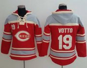 Wholesale Cheap Reds #19 Joey Votto Red Sawyer Hooded Sweatshirt MLB Hoodie