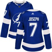 Cheap Adidas Lightning #7 Mathieu Joseph Blue Home Authentic Women's Stitched NHL Jersey