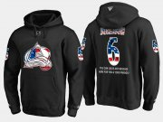 Wholesale Cheap Avalanche #6 Erik Johnson NHL Banner Wave Usa Flag Black Hoodie
