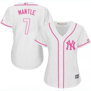 Wholesale Cheap Yankees #7 Mickey Mantle White/Pink Fashion Women's Stitched MLB Jersey