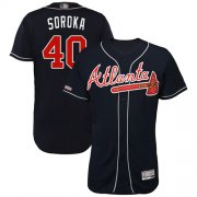 Wholesale Cheap Braves #40 Mike Soroka Navy Blue Flexbase Authentic Collection Stitched MLB Jersey