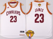 Wholesale Cheap Men's Cleveland Cavaliers #23 LeBron James 2017 The NBA Finals Patch White Jersey