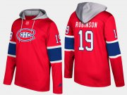 Wholesale Cheap Canadiens #19 Larry Robinson Red Name And Number Hoodie