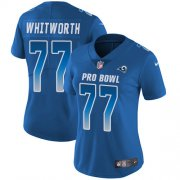 Wholesale Cheap Nike Rams #77 Andrew Whitworth Royal Women's Stitched NFL Limited NFC 2018 Pro Bowl Jersey