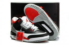 Wholesale Cheap Air Jordan 3 Retro Shoes Black/Cement Grey-White-Varsity Red