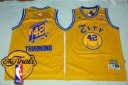 Wholesale Cheap Men's Warriors #42 Nate Thurmond Gold Throwback The City 2017 The Finals Patch Stitched NBA Jersey