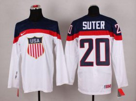 Wholesale Cheap 2014 Olympic Team USA #20 Ryan Suter White Stitched NHL Jersey