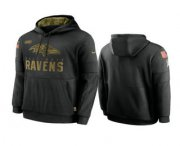 Wholesale Cheap Men's Baltimore Ravens Black 2020 Salute to Service Sideline Performance Pullover Hoodie