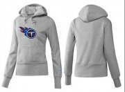 Wholesale Cheap Women's Tennessee Titans Logo Pullover Hoodie Grey