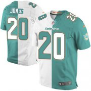 Wholesale Cheap Nike Dolphins #20 Reshad Jones Aqua Green/White Men's Stitched NFL Elite Split Jersey
